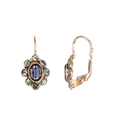 Iolite & Crystal Oval Earrings