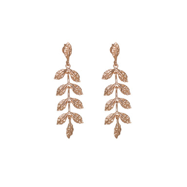 Rose Gold Small Leaf Drop Earrings