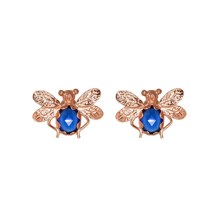 Blue Bee Stud Earrings
