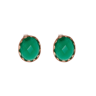 Green Gemstone Stud Earrings