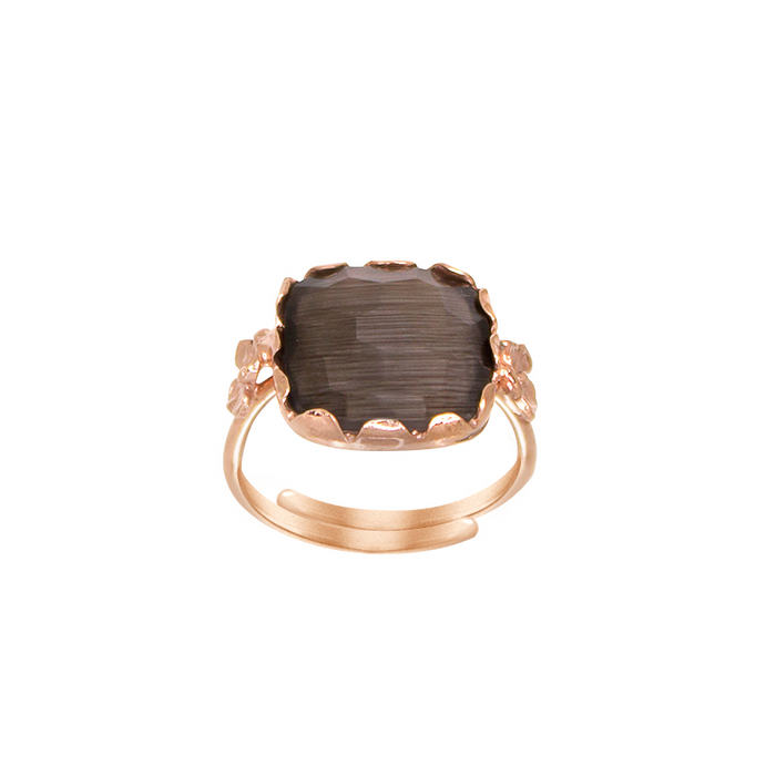 Smokey Square Gemstone Ring