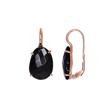 Black Oval Crystal Earrings