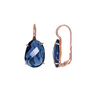Dark Blue Oval Crystal Earrings