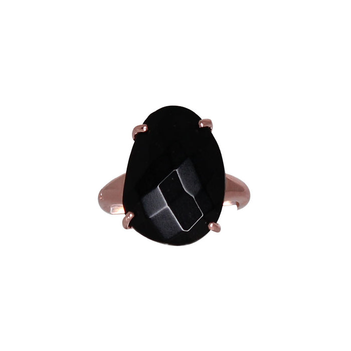 Black Oval Crystal Ring