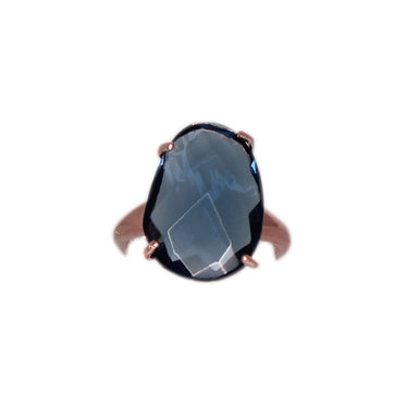 Dark Blue Oval Crystal Ring