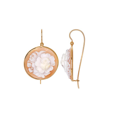 Round Cameo Flower Earrings