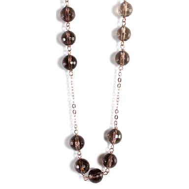 Smoky Quartz Small Stone Necklace - 70cm