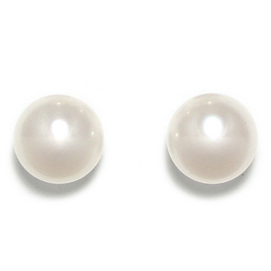 White Pearl Stud Earrings (Large)