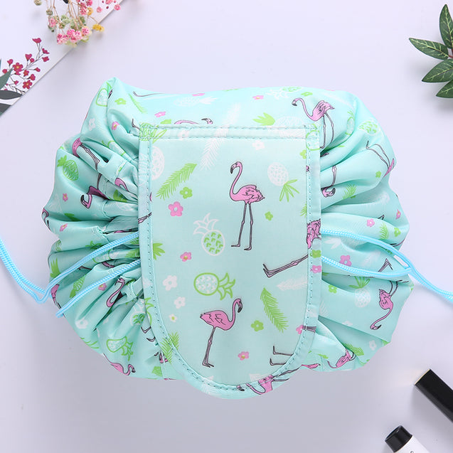 Lazy Makeup Bag Quick Pack Waterproof(Green flamingo)