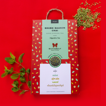 Shubh Saanjh Chai – Darjeeling Green Tea Leaves With Mint, Ajwain, Saunf, Shankhpushpi
