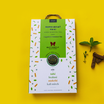Suprabhat Chai – Darjeeling Green Tea Leaves With Tulsi, Kali Mirch, Brahmi, Mulethi