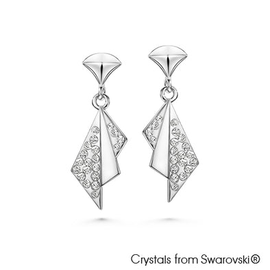 Oriental Fan Earrings (Clear Crystal, Pure Rhodium Plated) - Lush Addiction, Crystals from Swarovski®