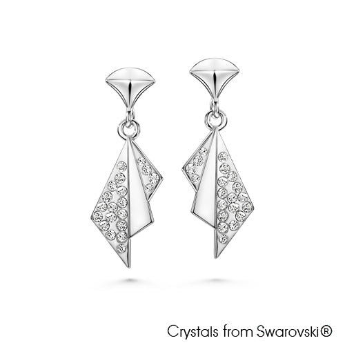 Oriental Fan Earrings (Clear Crystal, Pure Rhodium Plated) - Lush Addiction