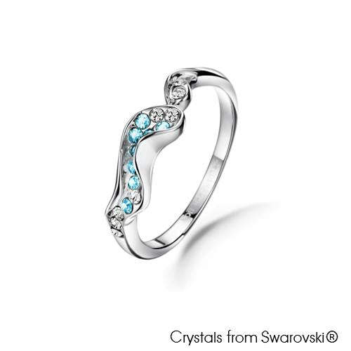 Ocean Ring (Aquamarine Blue, Pure Rhodium Plated) - Lush Addiction, Crystals from Swarovski®