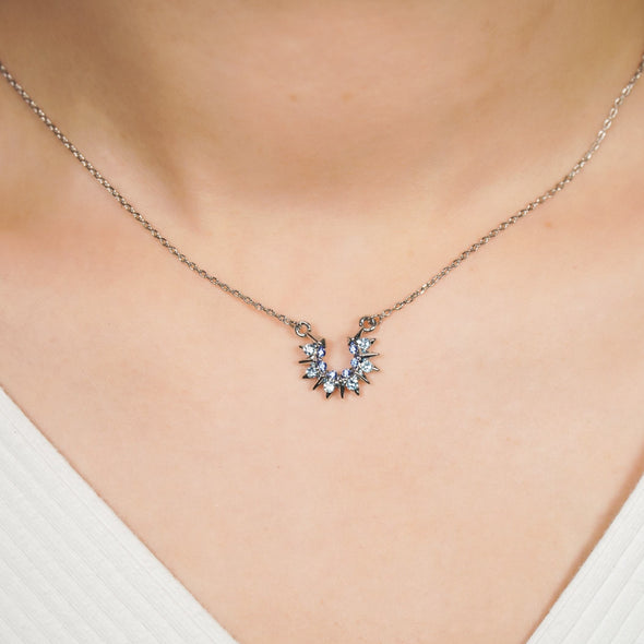 Sunray Necklace (Clear Diamond, Pure Rhodium Plated) - Lush Addiction, Crystals from Swarovski®