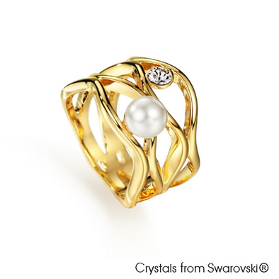 Coral Ring (Pearl, 18K Gold Plated) - Lush Addiction, Crystals from Swarovski®