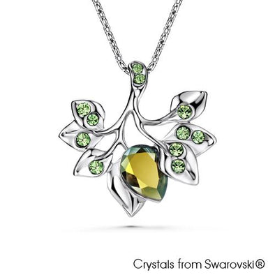 Wood Element Necklace (Emerald Peridot Green, Pure Rhodium Plated) - Lush Addiction, Crystals from Swarovski®