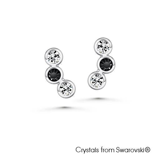 Modernistic Earrings Clear Crystal Midnight Black Pure Rhodium Plated Lush Addiction Crystals from Swarovski