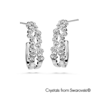 Corrie Earrings (Clear Diamond, Pure Rhodium Plated) - Lush Addiction, Crystals from Swarovski®