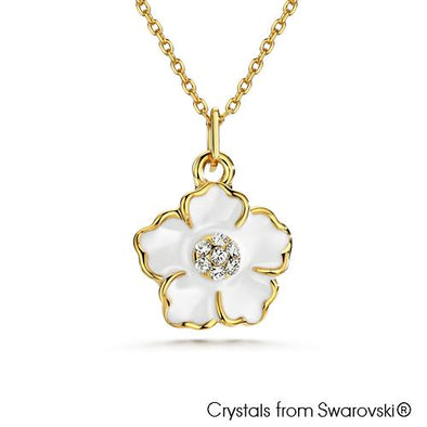 Floral Necklace Clear Crystal Pure Rhodium Plated Lush Addiction Crystals from Swarovski