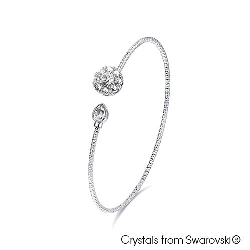 Eliana Bangle Clear Crystal Pure Rhodium Plated Lush Addiction Crystals from Swarovski
