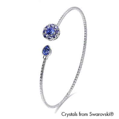 Eliana Bangle Light Sapphire Pure Rhodium Plated Lush Addiction Crystals from Swarovski