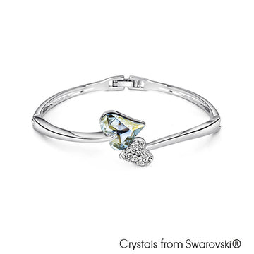 Hestia Bangle (Crystal Blue Shade, Pure Rhodium Plated) - Lush Addiction, Crystals from Swarovski®