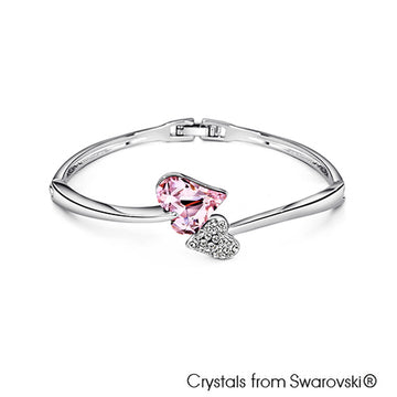 Hestia Bangle (Rosaline, Pure Rhodium Plated) - Lush Addiction, Crystals from Swarovski®