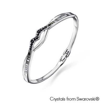 Fortitude Bangle Jet Pure Rhodium Plated Lush Addiction Crystals from Swarovski