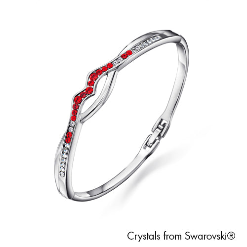Fortitude Bangle Light Siam Pure Rhodium Plated Lush Addiction Crystals from Swarovski