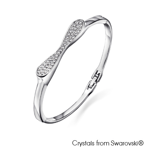 Bow Bangle Clear Crystal Pure Rhodium Plated Lush Addiction Crystals from Swarovski