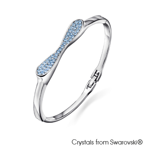 Bow Bangle Aquamarine Pure Rhodium Plated Lush Addiction Crystals from Swarovski