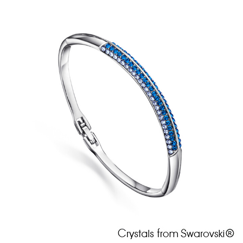 Classic Bangle Capri Blue Pure Rhodium Plated Lush Addiction Crystals from Swarovski