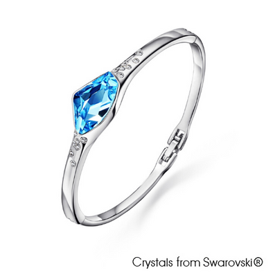 Fancy Bangle (Aquamarine, Pure Rhodium Plated) - Lush Addiction, Crystals from Swarovski