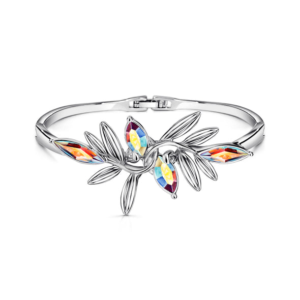 Fern Bangle Crystal Aurora Borealis Pure Rhodium Plated Lush Addiction Crystals from Swarovski