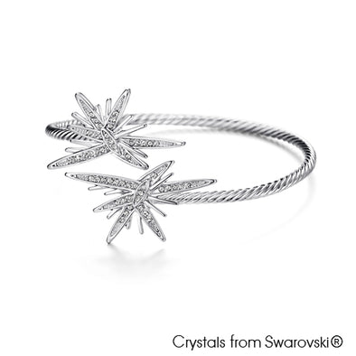 Astra Bangle Clear Crystal Pure Rhodium Plated Lush Addiction Crystals from Swarovski