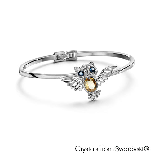 Wisdom Owl Bangle (Pure Rhodium Plated) - Lush Addiction, Crystals from Swarovski®