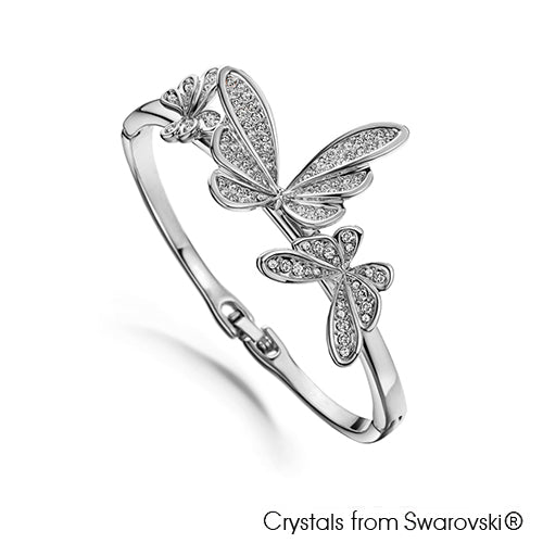 Butterfly Dance Bangle (Clear Crystal, Pure Rhodium Plated) - Lush Addiction, Crystals from Swarovski