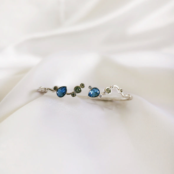 Waterfall Bangle Denim Blue Pure Rhodium Plated Lush Addiction Crystals from Swarovski