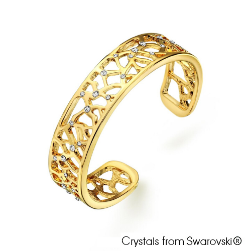 Supertree Bangle (Clear Crystal, 18K Gold Plated) - Lush Addiction, Crystals from Swarovski