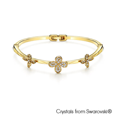 Clover Bangle (Clear Crystal, 18K Gold Plated) - Lush Addiction, Crystals from Swarovski®