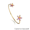 Cattleya Orchid Bangle Tanzanite 18K Gold Plated Lush Addiction Crystals from Swarovski