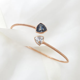Trilliant Night Bangle (Midnight Black, Rose Gold Plated) - Lush Addiction, Crystals from Swarovski