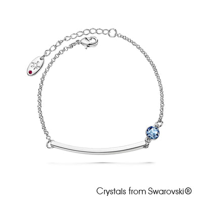 Solitaire Bar Bracelet (Light Sapphire, Pure Rhodium Plated) - Lush Addiction, Crystals from Swarovski®