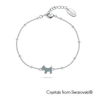 Cute Terrier Bracelet (Aquamarine, Pure Rhodium Plated) - Lush Addiction, Crystals from Swarovski®