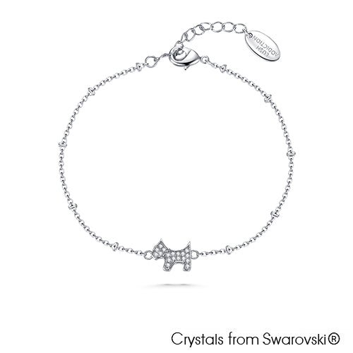 Cute Terrier Bracelet (Clear Crystal, Pure Rhodium Plated) - Lush Addiction, Crystals from Swarovski®