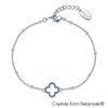 Lucky Clover Bracelet (Aquamarine, Pure Rhodium Plated) - Lush Addiction