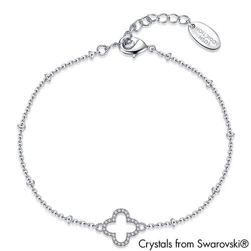 Lucky Clover Bracelet (Clear Crystal, Pure Rhodium Plated) - Lush Addiction