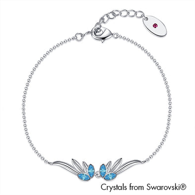 Guardian Angel Bracelet (Aquamarine, Pure Rhodium Plated) - Lush Addiction, Crystals from Swarovski