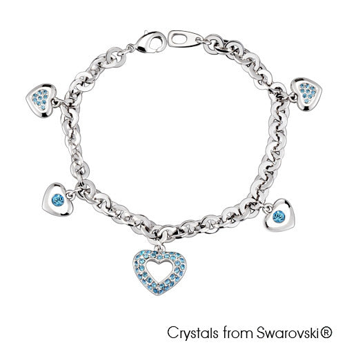 Adora Chain Bracelet (Aquamarine, Pure Rhodium Plated) - Lush Addiction, Crystals from Swarovski®